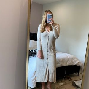 Long ribbed creme cardigan / dress from Lulu's